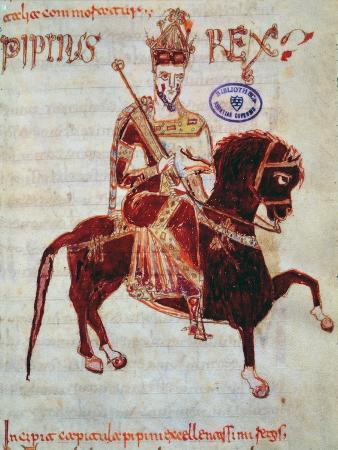 Ms 4 Equestrian Portrait of Pepin (C.773-810) King of Italy, 1023 (Vellum)