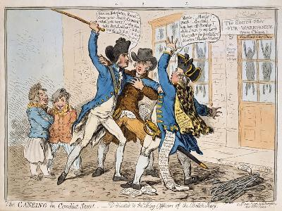 The Caneing in Conduit Street, Published by Hannah Humphrey, 1796 (Hand-Coloured Etching)