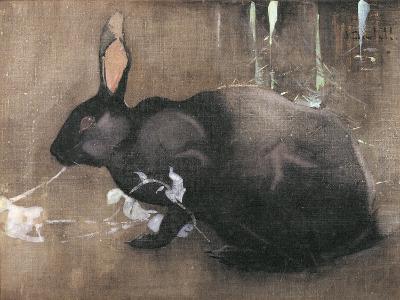 A Black Rabbit (Bodycolour on Linen)