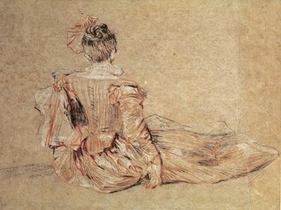 Study of a Woman Seen from the Back, 1716-18 (Chalk on Paper)