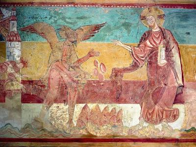 Temptation of Christ in the Desert by the Devil, 12th Century (Fresco)