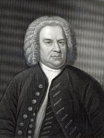 Portrait of Johann Sebastian Bach, German Composer (Engraving)