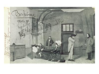 Scene from Act Iv of the Opera 'La Boheme', by Giacomo Puccini (1858-1924) (B/W Photo)