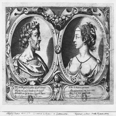 Pierre De Ronsard, Aged 27 and Cassandre Salviati (Engraving) (B/W Photo)