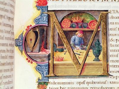 Historiated Initial 'M' Depicting a Metalworker, from the 'Naturalis Historia' by Pliny the Elder