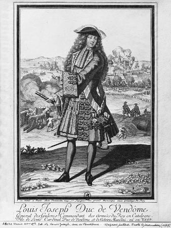 Louis Joseph De Bourbon, Duke of Vendome, known as 'The Great Vendome' (Engraving) (B/W Photo)