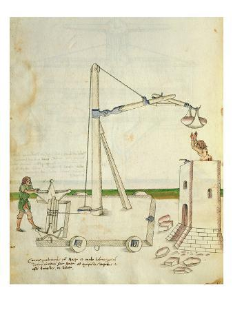 Design for a Crane for Use in Construction of a Tower, Illustration from 'De Machinis'
