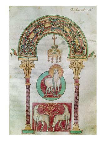 Ms Ccii Fol.35R Agnus Dei, Illustration of the 'Lamb of God' from 'Etymologiae'