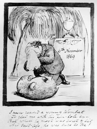 Rossetti Lamenting the Death of His Wombat, 1869 (Pen and Ink on Paper)