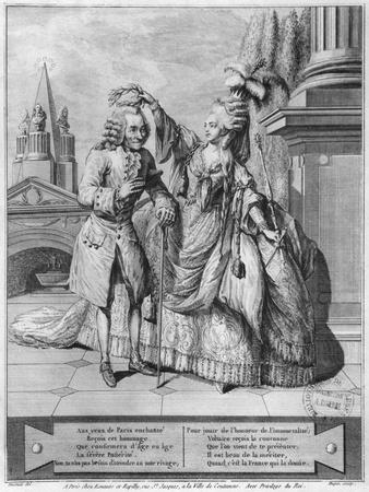 Voltaire Crowned by Mademoiselle Clairon, Engraved by Jean Victor (B.1718) 1791 (Engraving)