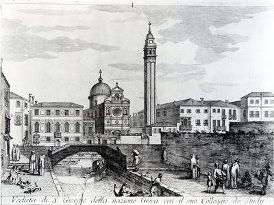 View of San Giorgio Dei Greci and the Flanginian School, Venice (Engraving)