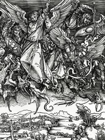 St. Michael Fighting the Dragon, 1498 (Woodcut)