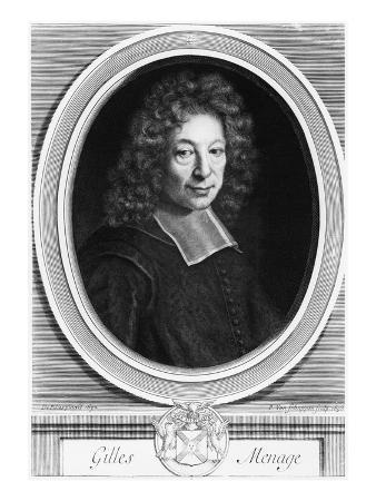 Gilles Menage, 1692, Engraved in 1698 by Pierre Louis Van Schuppen (1627-1702) (Engraving)