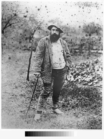 Claude Monet (1840-1926) in His Garden, 1880 (Silver Print) (B/W Photo)