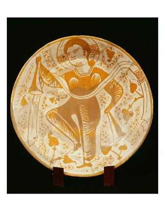 Decorated Plate with Saint Figure (Ceramic)