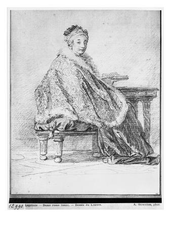 Russian Woman at a Table Holding a Book in Her Hand (Pierre Noire and Redchalk on Paper)