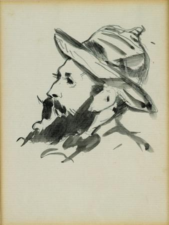 Head of a Man (Claude Monet) 1874 (Pen and Ink Wash on Paper)