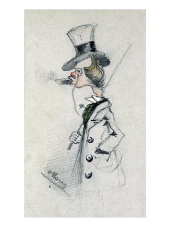 Dandy with a Cigar, 1857 (Pencil on Paper)