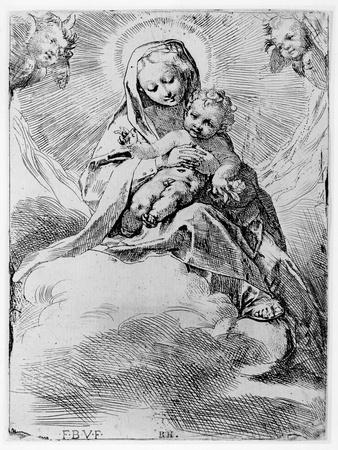 The Virgin and Child in the Clouds (Engraving)