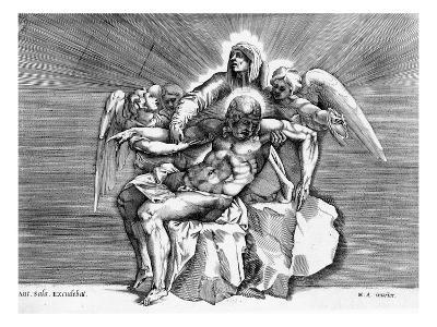 Pieta, Engraved by Giulio Sanuto (Engraving)