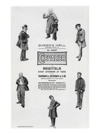 Poster Advertising Albert Chevalier's Recital at the Queen's Hall (Engraving)