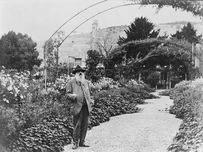 Claude Monet (1841-1926) in His Garden at Giverny, C.1925 (B/W Photo)