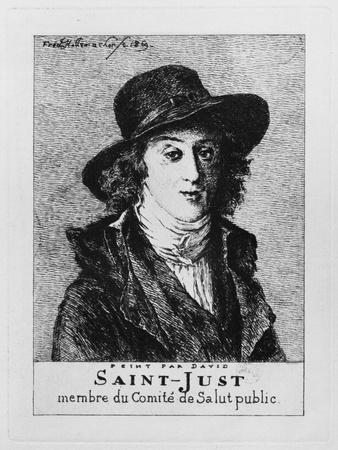 Louis Antoine Leon De Saint-Just, Engraved by Frederic Desire Hillemacher (1811-86) 1869