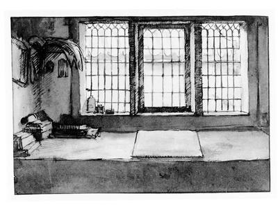 Artist's Worktable at the Window Overlooking the River, C.1650 (Pen, Ink and Wash on Paper)