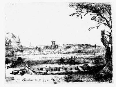 View of a Canal, 1650 (Etching)