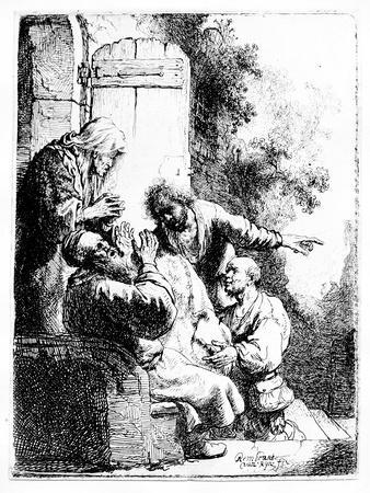 Joseph's Coat Brought to Jacob, C.1633 (Etching)