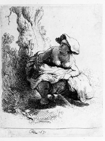 Woman Urinating under a Tree, 1631 (Etching)