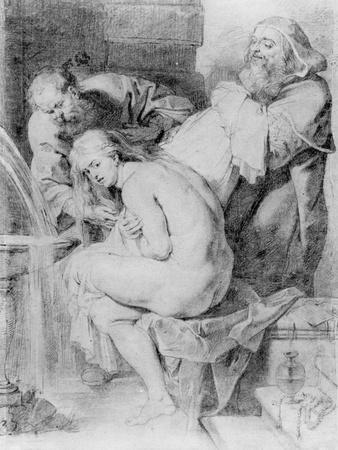 Susanna and the Elders, Drawn by Lucas Vorsterman, C.1620 (Chalk, Pen and Ink on Paper)