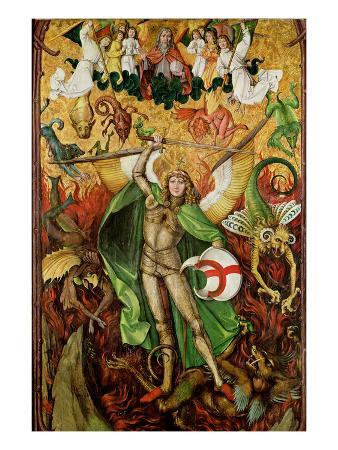 The Archangel Saint Michael in Combat with Lucifer, C.1490-1505 (Oil on Wood)