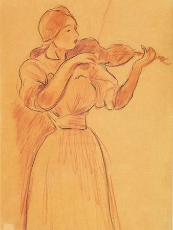 The Violin, 1894 (Pencil and Red Chalk on Paper)