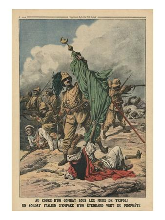 An Italian Soldier Seizing the Green Standard of Prophet Muhammed