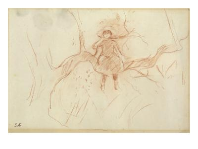 Perching in the Tree, 1889 (Red Chalk on Paper)