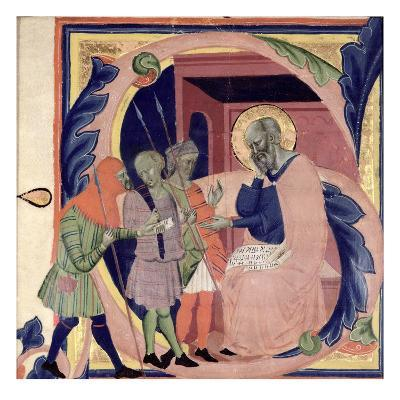 Historiated Initial 's' Depicting Job Receiving Messengers with Bad News (Vellum)
