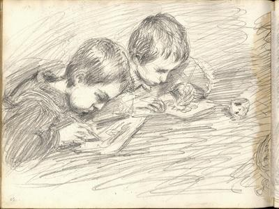 Jean-Pierre Hoschede (1877-1961) and Michel Monet (1878-1966) Drawing (Pencil on Paper)
