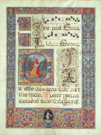 Page from a Manuscript with a Historiated Initial 'D' Depicting King David, C.1480 (Vellum)