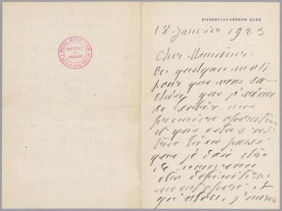 Autographed Letter from Claude Monet to Paul Leon Relating His First Operation