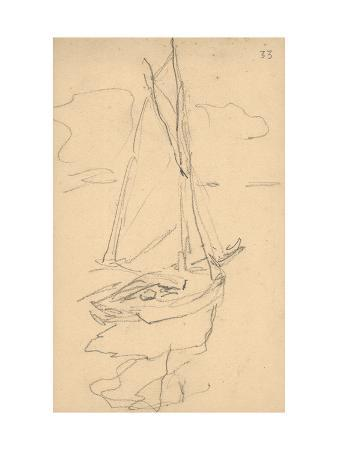 Small Yacht on the Norman Coast (Pencil on Paper)