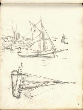 Studies of Boats (Pencil on Paper)