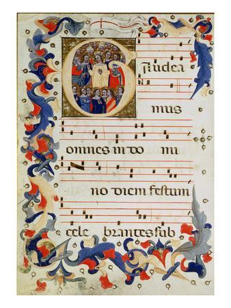 Page of Musical Notation with a Historiated Initial 'G' Depicting a Group of Saints with St. Ursula