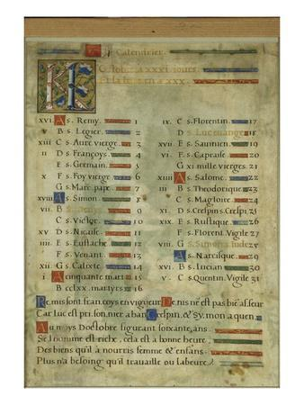 Calendar Page for October, from a Book of Hours, C.1550-60 (Vellum)