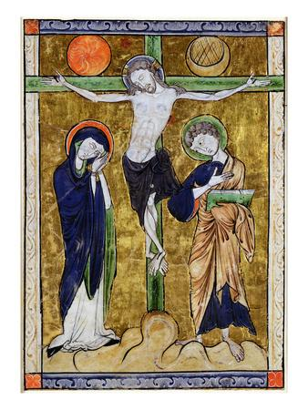 The Crucifixion, from a Psalter, C.1215 (Vellum)