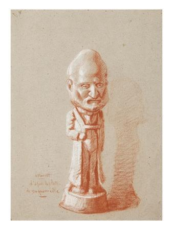 Portrait of a Shareholder, from a Plaster of Cuquemelle (Pencil on Paper)