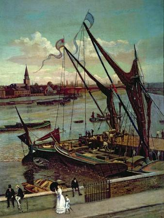 Unloading the Barge, Lindsay Jetty and Battersea Church, C.1860