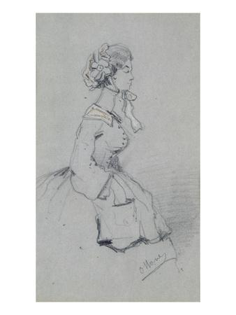 Young Woman with a Ribbon, 1857 (Charcoal and Pastel on Paper)