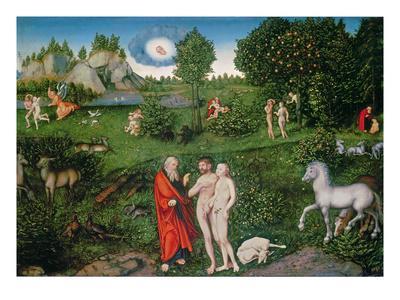 Adam and Eve in the Garden of Eden, 1530 (Oil on Panel)