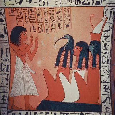 Tomb Painting Depicting the Departed before Osiris, Isis, and Thoth (Fresco)